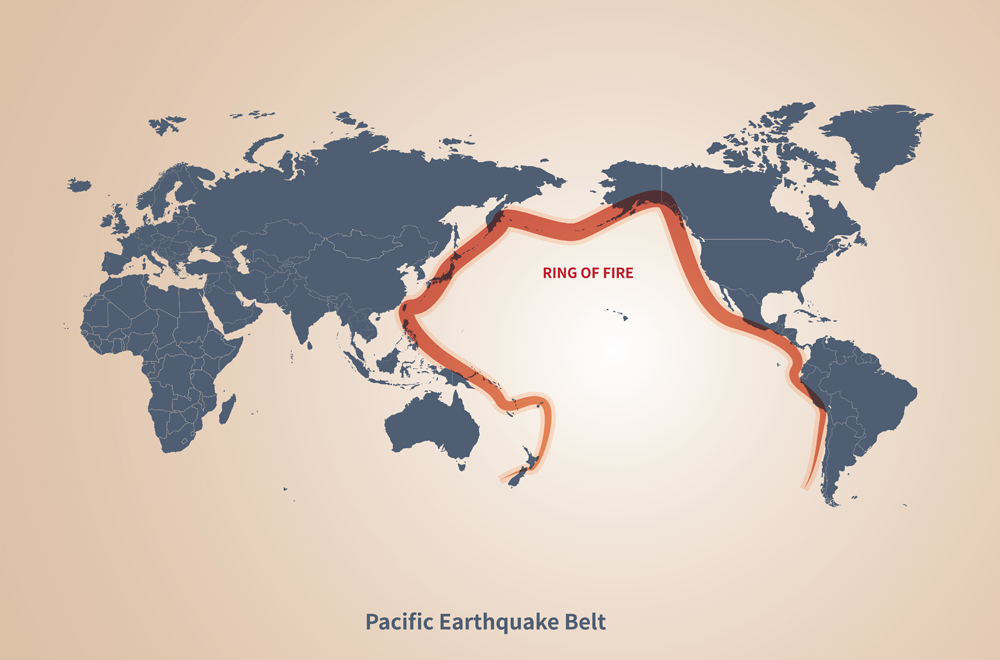 graphic vector map of pacific earthquake belt(tunasalmon)S
