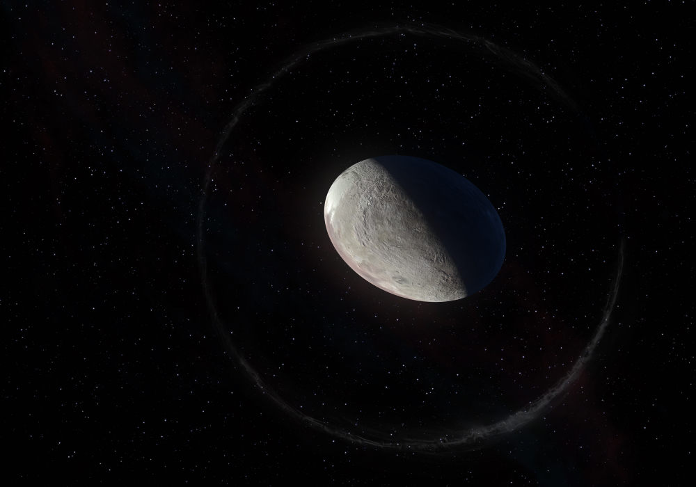 Haumea ellipsoidal dwarf planet with rings in the Kuiper belt(Diego Barucco)s