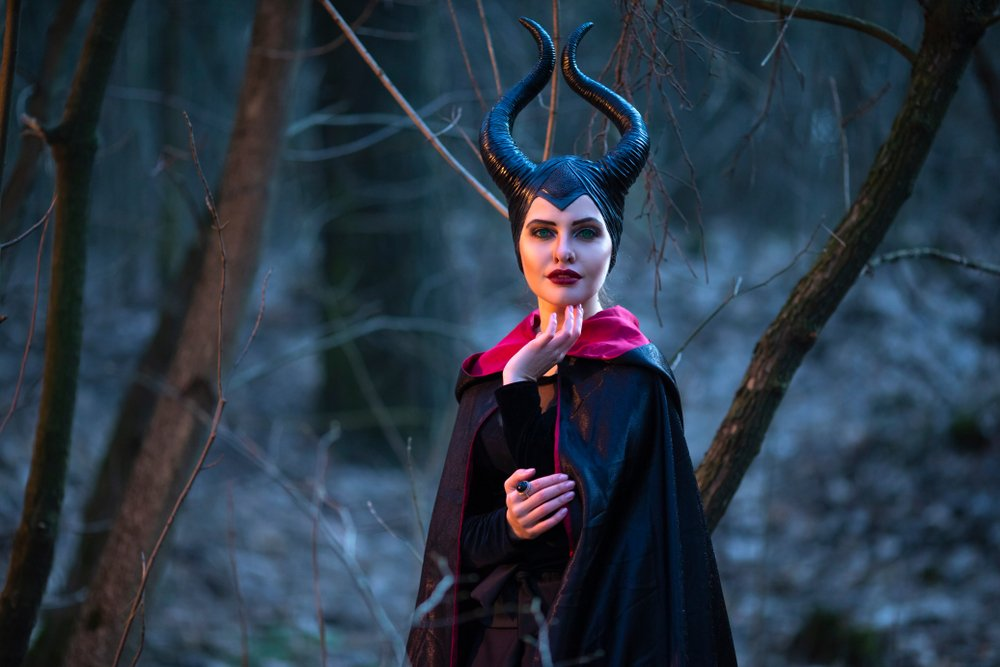 Maleficent Woman with Horns Posing in Spring Empty Forest(Dmitry Morgan)s