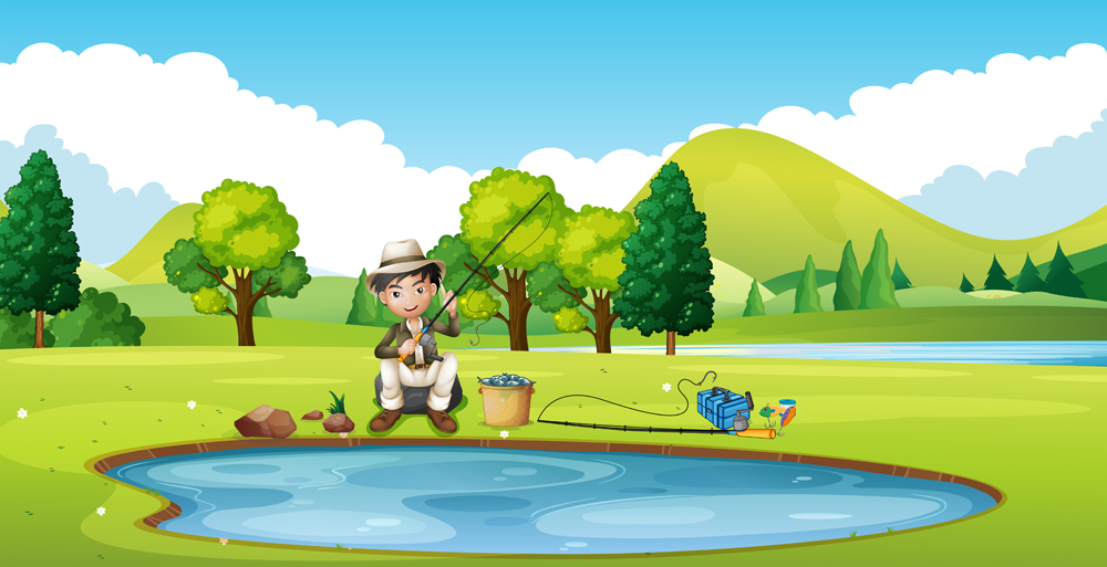 Scene with man fishing by the pond(GraphicsRF)S