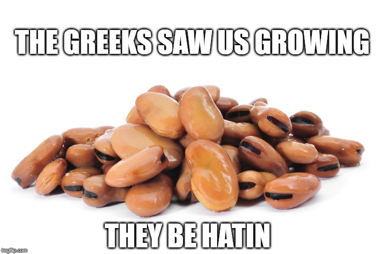 THE GREEKS SAW US GROWING meme