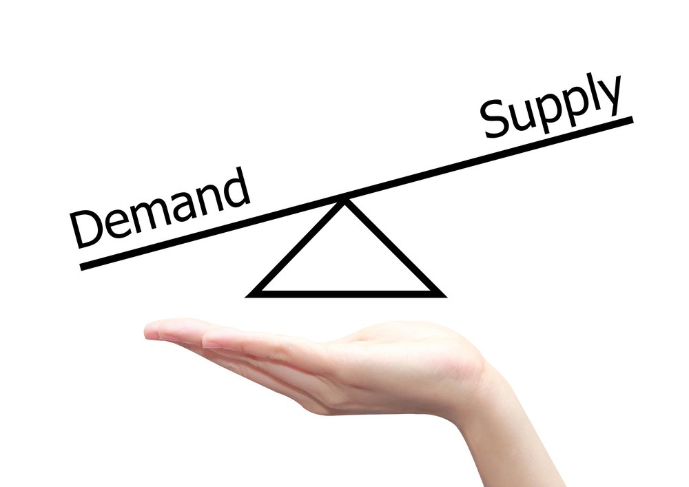 isolated hand with demand supply concept(charnsitr)s