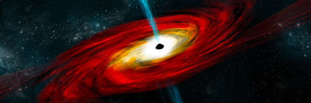 An artist's depiction of a black hole in interstellar space pulling in gas and dust that start to heat(Marc Ward)s