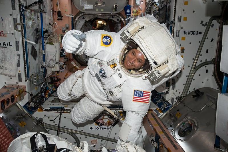 Astronaut inside ISS