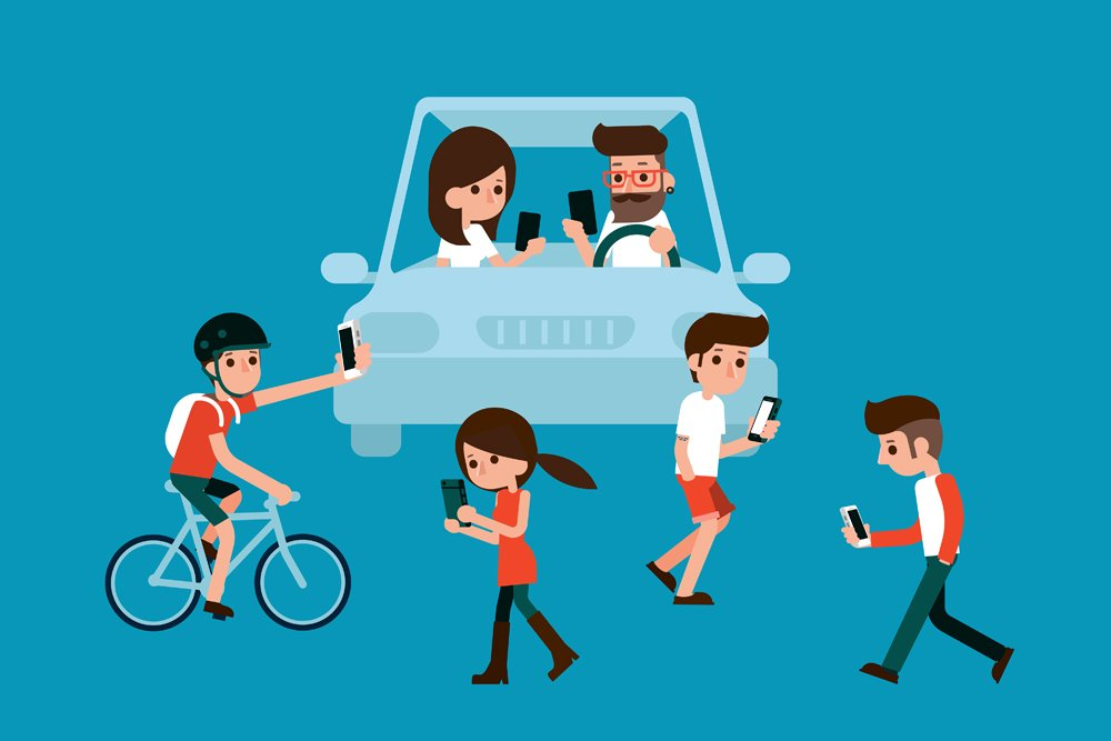 People using smartphones while walking and driving in city(Bplanet)S