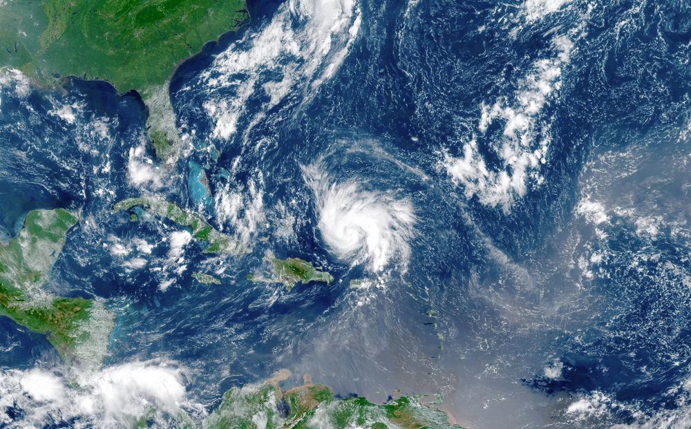 Satellite view of an hurricane approaching to USA(elRoce)s