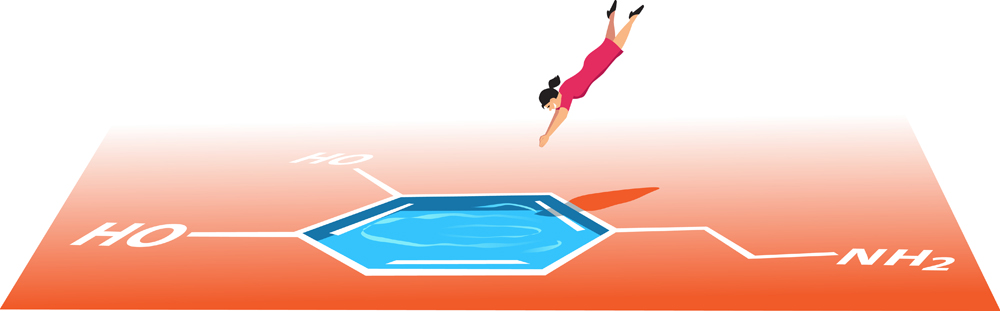Woman jumping head first in a pool shaped like a dopamine molecule(Aleutie)S