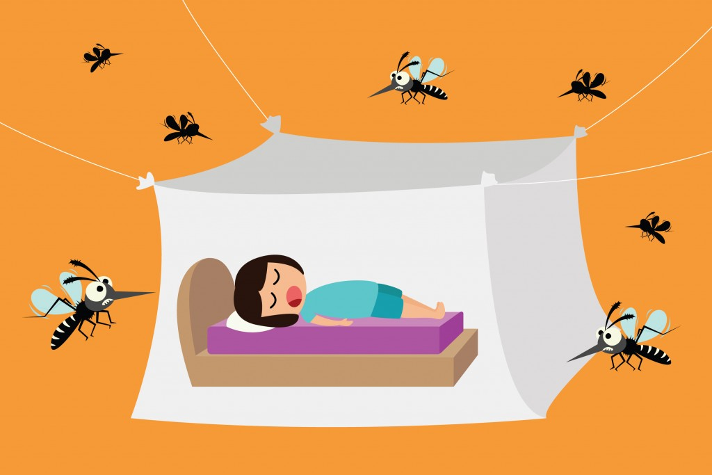 Child sleeping under mosquito net(Sai Tha)s