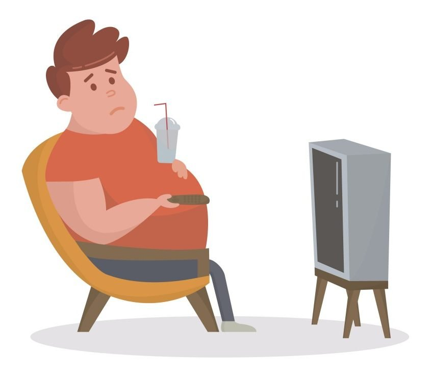 Fat man sitting on the couch and watching TV(friendlyvector)s