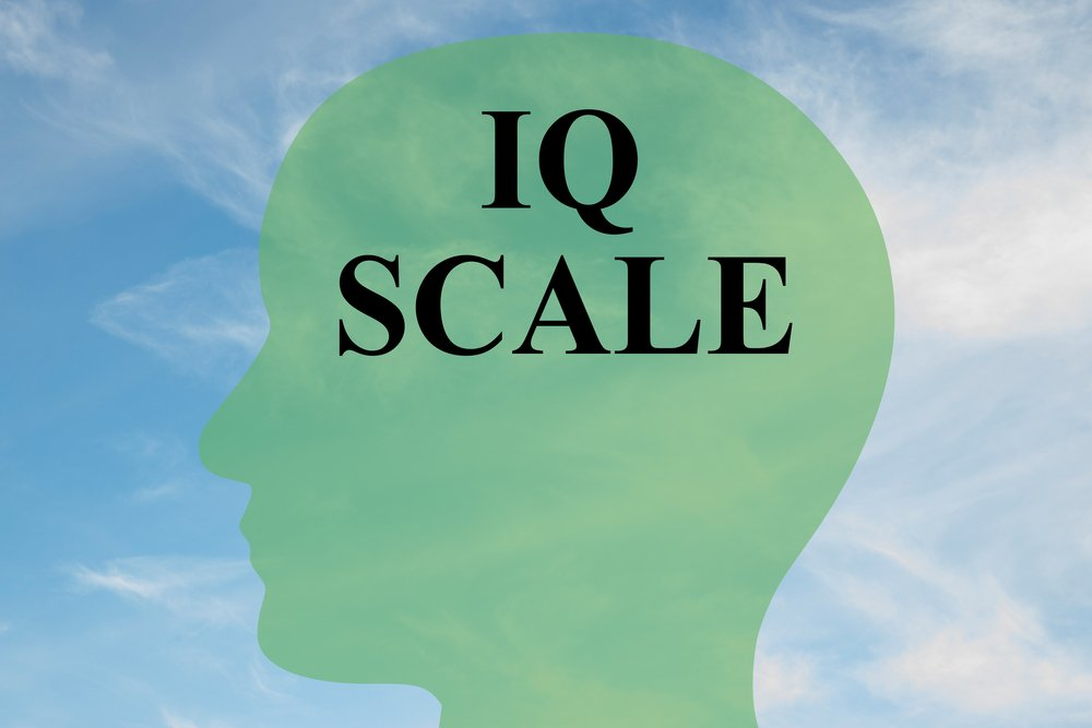 Render illustration of IQ SCALE script on head silhouette(hafakot)s