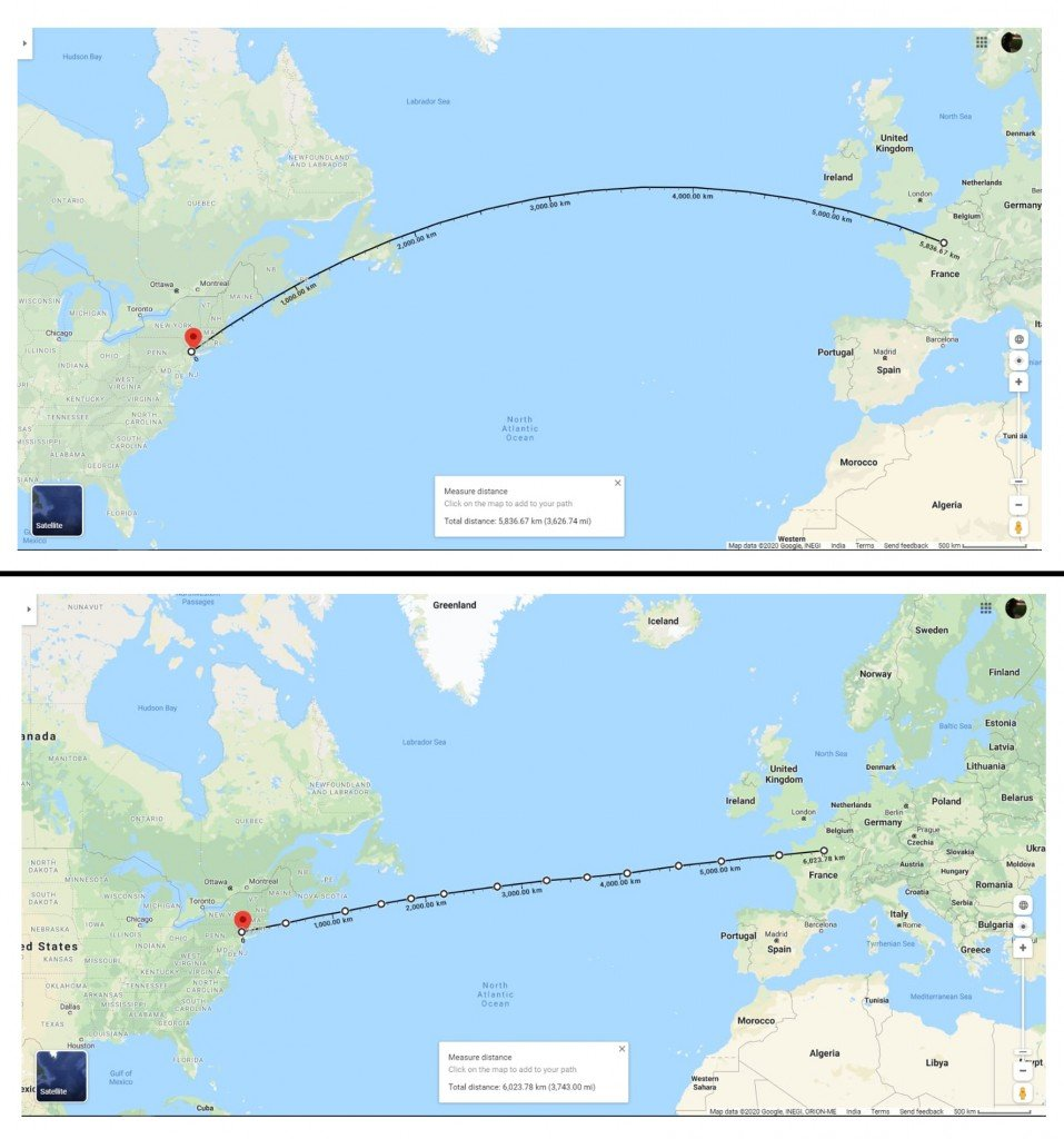 earth map Great circle distance Vs straight line distance