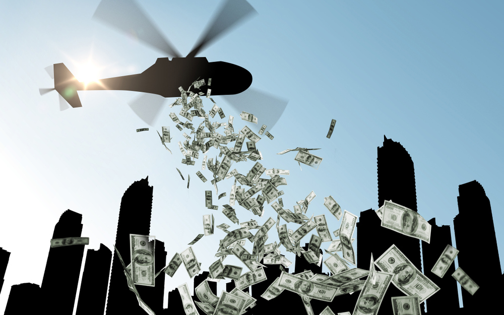 helicopter money, finance, economy and monetary policy concept(Syda Productions)S