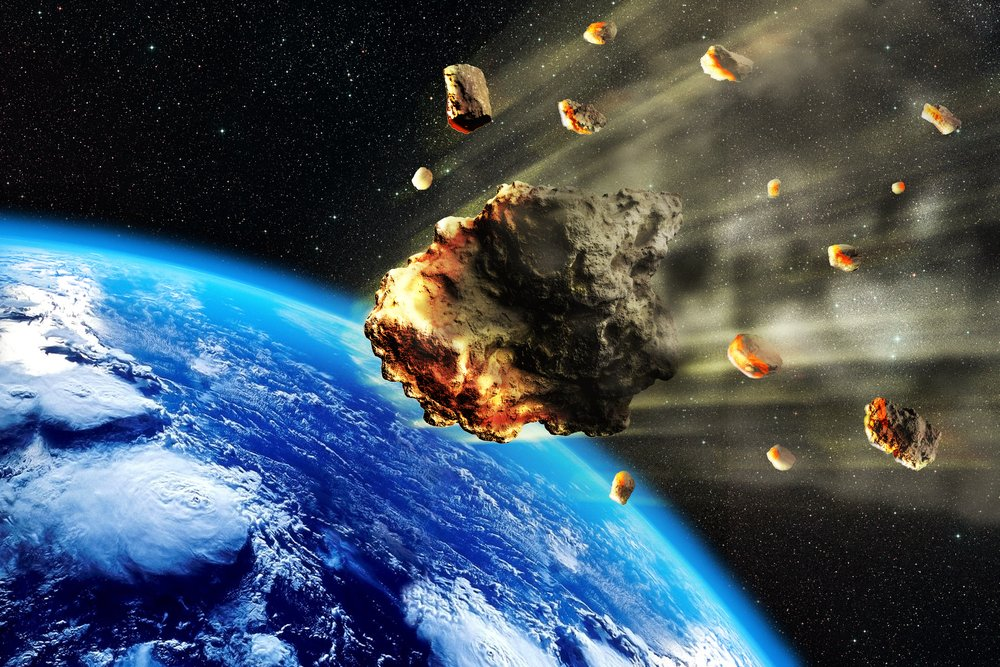 3D rendering of a swarm of Meteorites or asteroids entering the Earth atmosphere(Oliver Denker)S