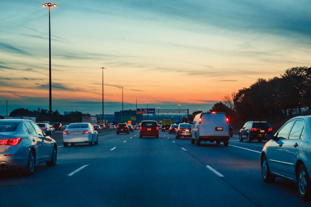 Night traffic, cars on highway road on sunset evening night in busy city(Anna Kraynova)s