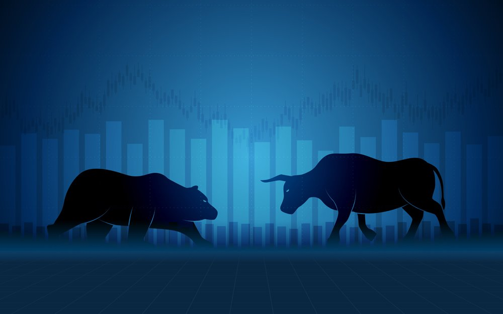 financial chart with bulls and bear in stock market(Champ008)s