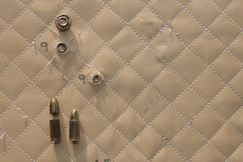 hit shot 9mm in Kevlar bulletproof vest(Marsan)s