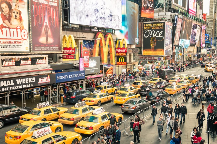taxicabs and traffic jam congestion in front of Mc Donalds in Times Square in Manhattan(View Apart)s
