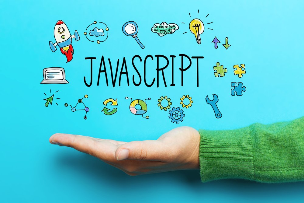 JavaScript concept with hand on blue background(TierneyMJ)S