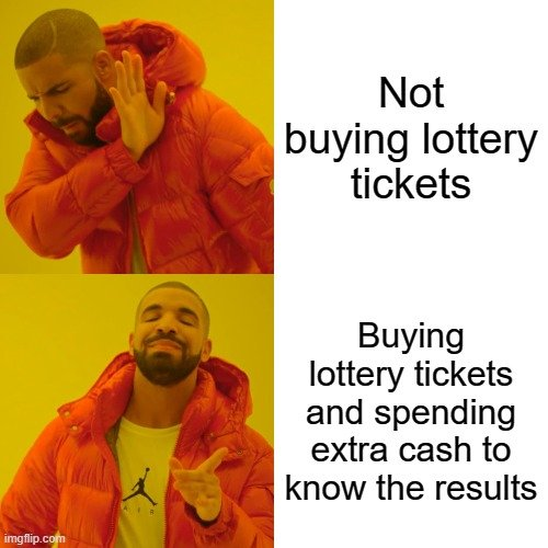 Not buying lottery tickets; Buying lottery tickets and spending extra cash to know the results meme