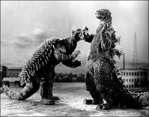A still from the movie, Godzilla Raids Again depicting Godzilla fighting Anguirus.