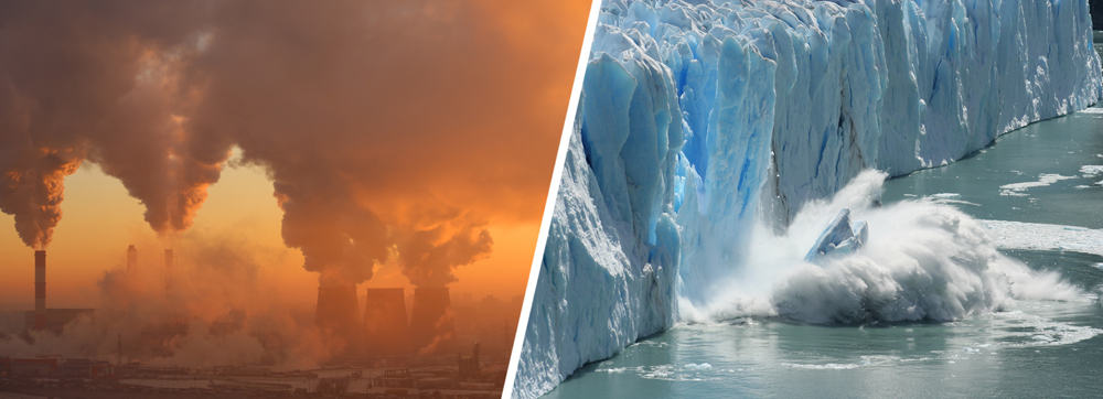 One of the major drivers of global warming and climate change (L), and its associated consequence (R)