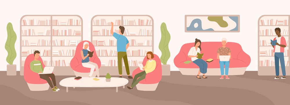 Young people sitting on comfy sofa and in armchairs studying and reading at public library(GoodStudio)s
