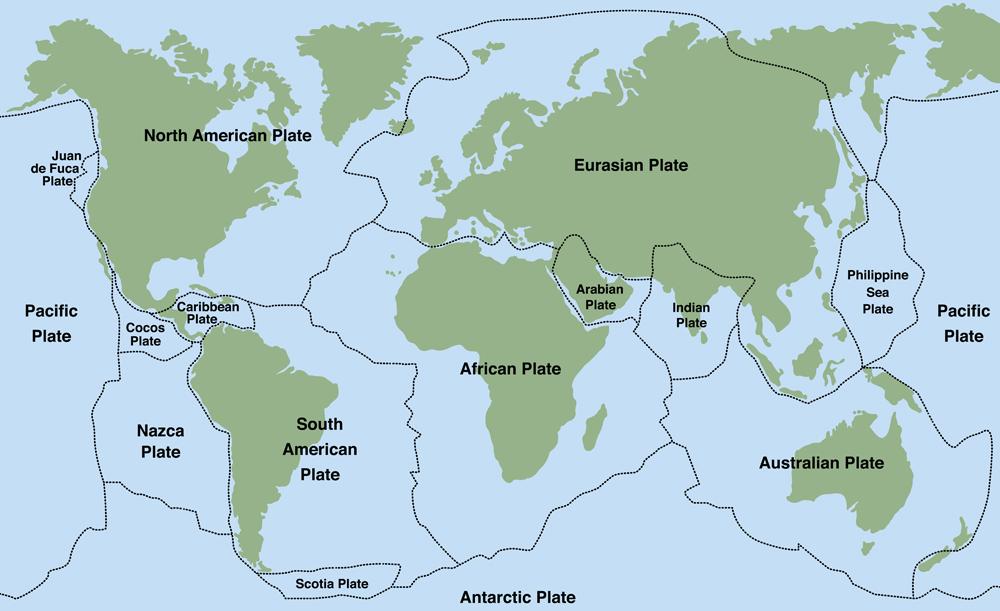 Plate tectonics - world map with major an minor plates(Peter Hermes Furian)s