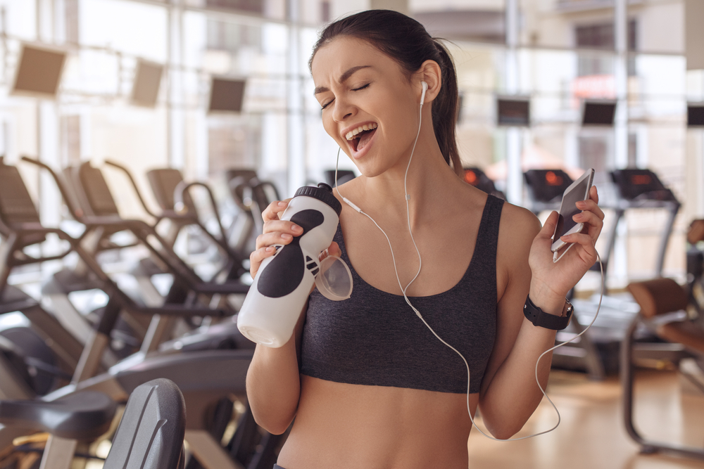 Young woman workout in gym healthy lifestyle(Friends Stock)s