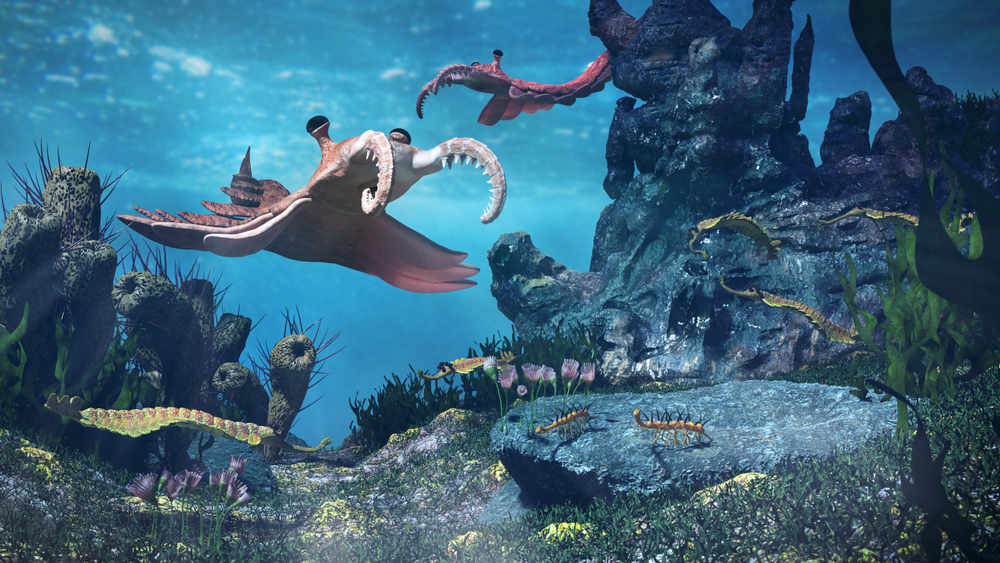 creatures of the Cambrian period, underwater scene with Anomalocaris, Opabinia(Dotted Yeti)s