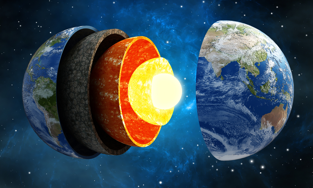 3D illustration showing layers of the Earth in space(cigdem)S