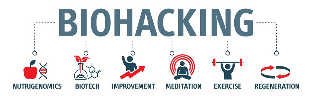 Banner of Biohacking vector illustration. Self improvement persons concept(Trueffelpix)S