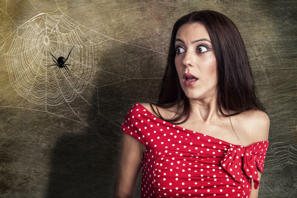 Beautiful woman is looking shocked to a spider next to her face(Cara-Foto)s