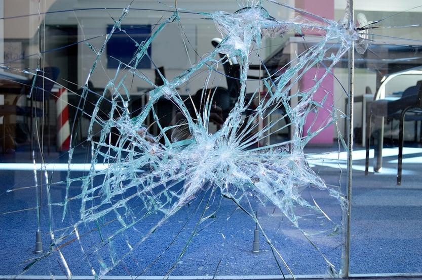 close up of broken office window glass(cunaplus)S