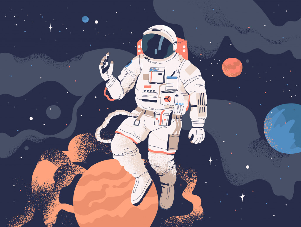 Astronaut in spacesuit in open space (GoodStudio)s