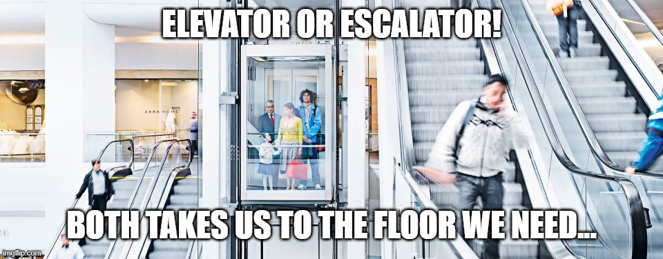 ELEVATOR OR ESCALATOR! BOTH TAKES US TO THE FLOOR WE NEED... meme