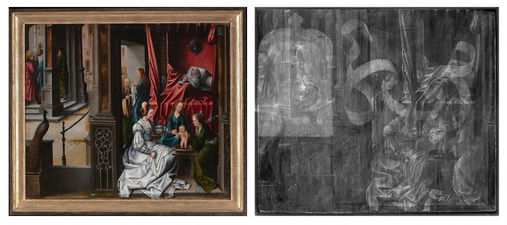 Image on the right is an X-ray of the image on The Birth and Naming of Saint John The Baptist by Barend van Orley