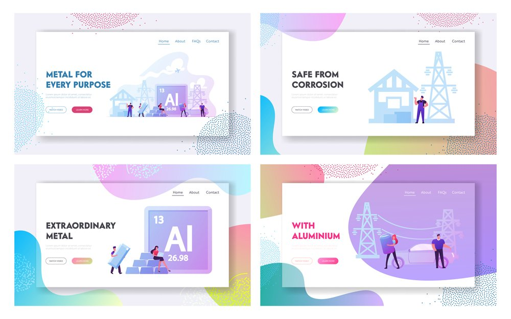 People Use Aluminium in Life Landing Page Template Set(ivector)s