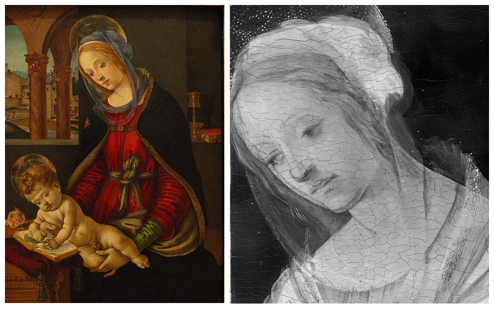 The IR scan of the image at left reveals the underdrawings seen in the right
