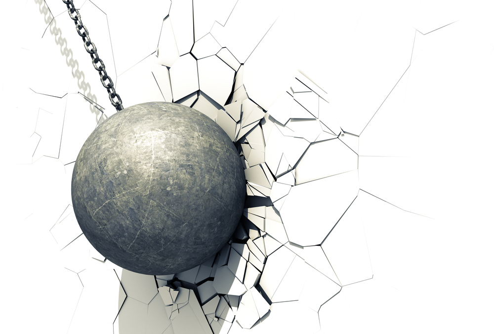 Wrecking Ball Shattering The White Wall(3Dsculptor)s
