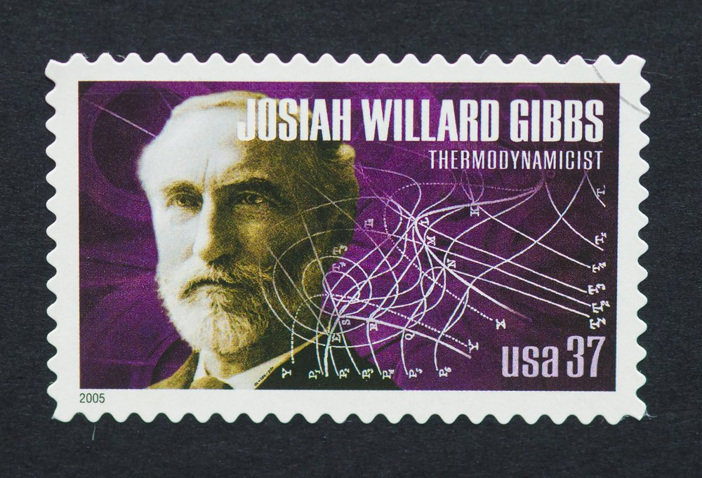 a postage stamp printed in USA showing an image of Josiah Willard Gibbs(catwalker)s