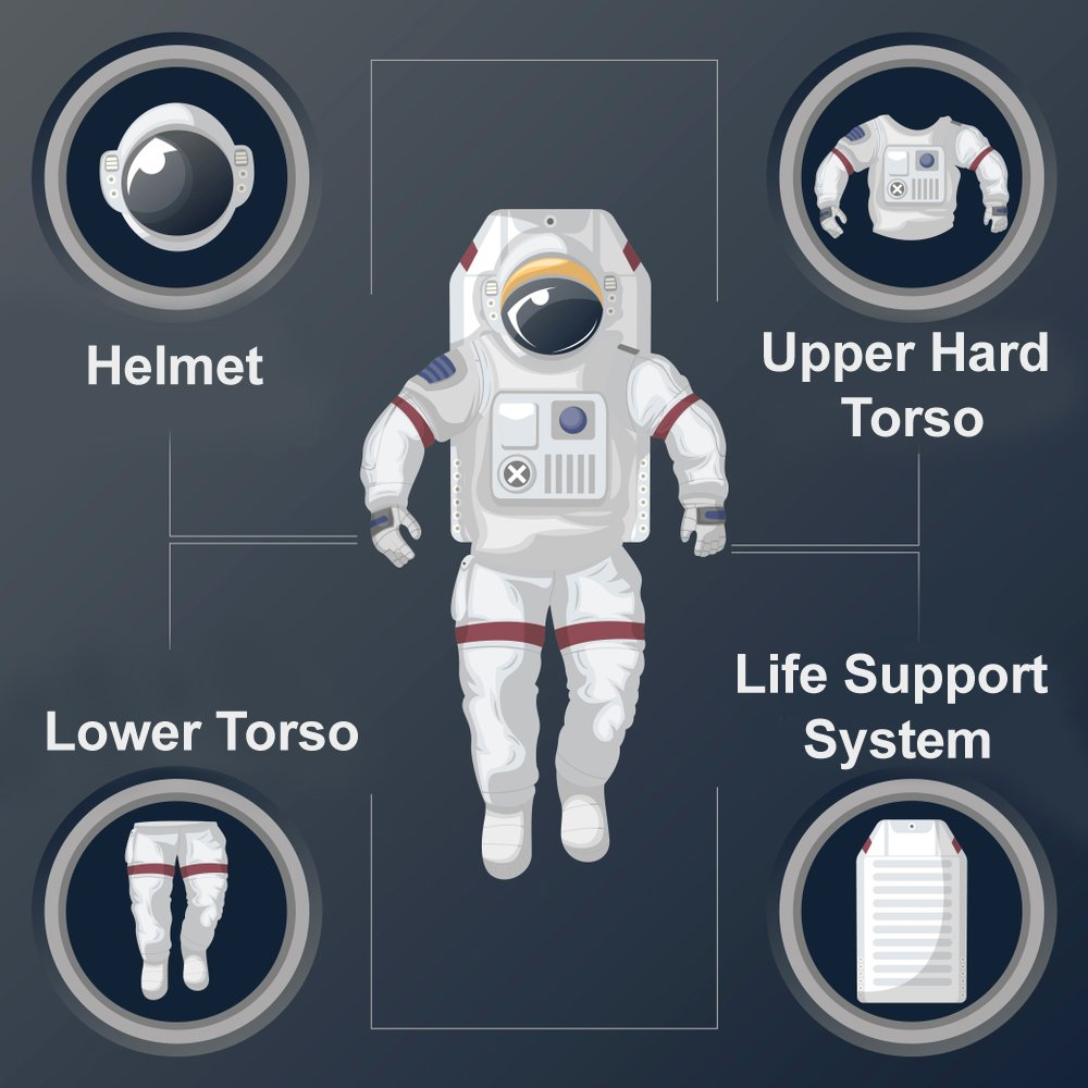 upper and lower torso, the cooling garment, and the helmet spacesuit