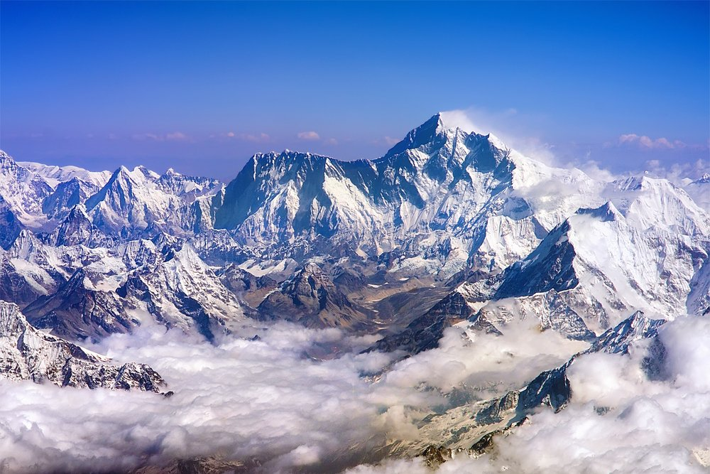 Himalaya mountains summits, Everest and Lhotse, with snow flags and clouds(MOROZ NATALIYA)s