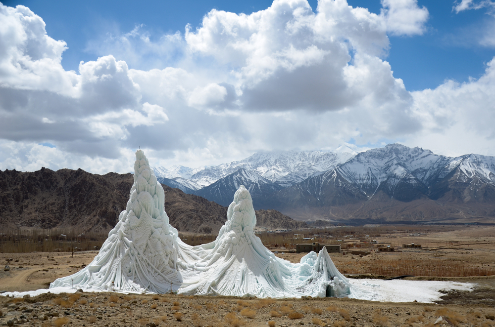 Stupa (Artificial Glaciers) in the middle of cold desert of Ladakh in India(Naveen Macro)s