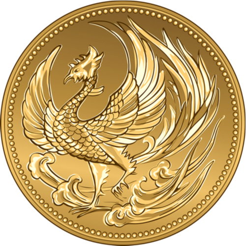 vector Japanese money, gold coin 100 000 with the image of phoenix(kavalenkava)s