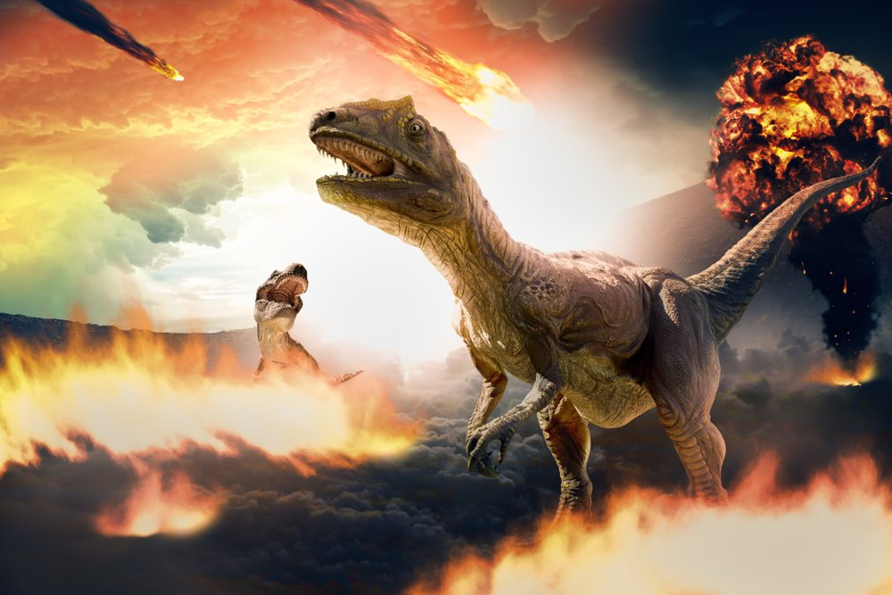 3d rendering of dinosaur and asteroids during extinction day(serpeblu)s