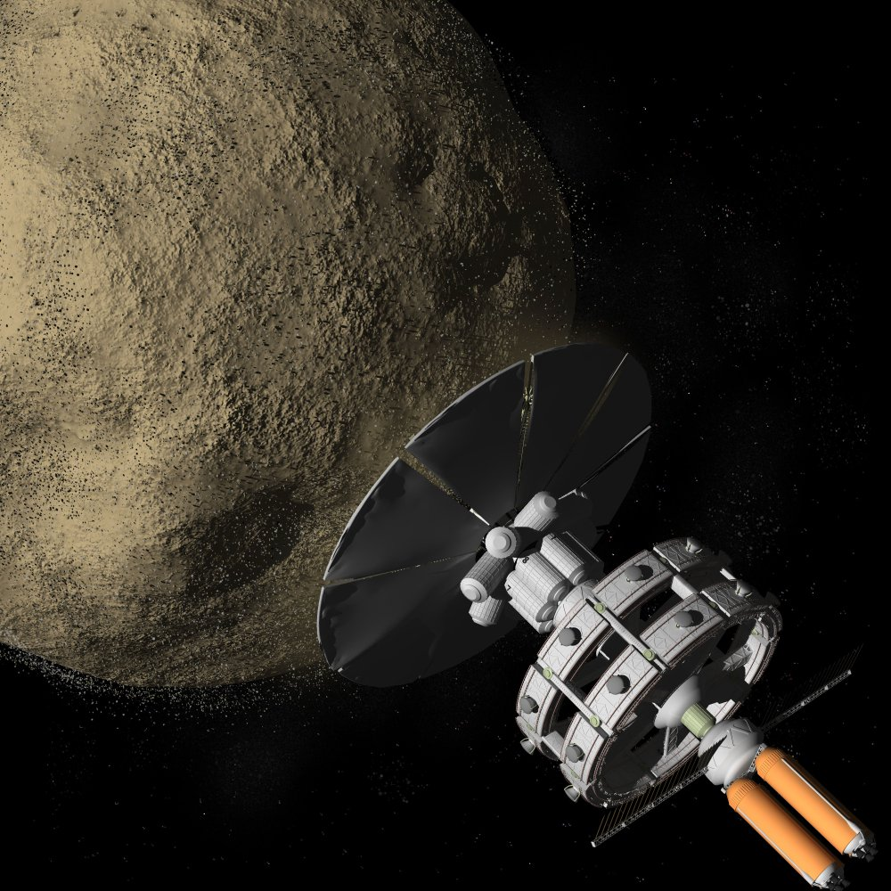 Artist depiction of a spacecraft in a distant future mining an asteroid for resource(Raymond Cassel)s