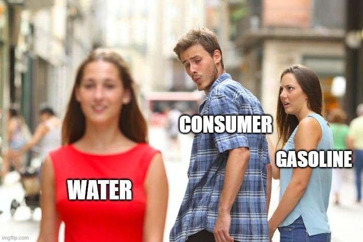 CONSUMER; GASOLINE; WATER meme