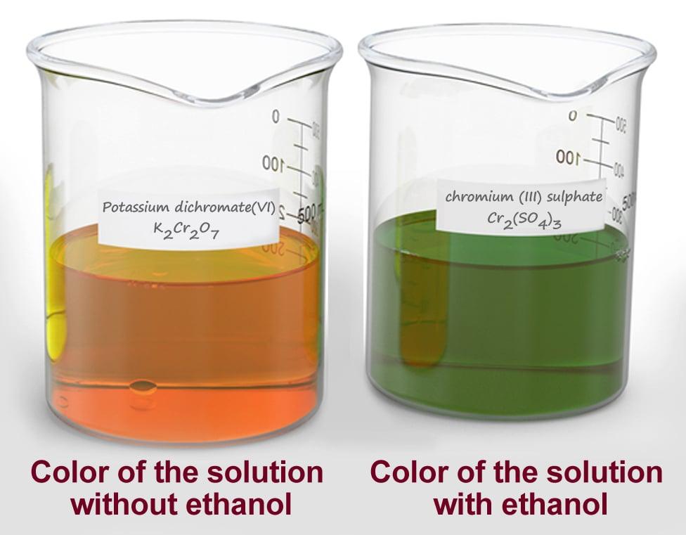 Potassium dichromate, potassium chromate and chromium chloride solutions in beakers(Ajamal)s