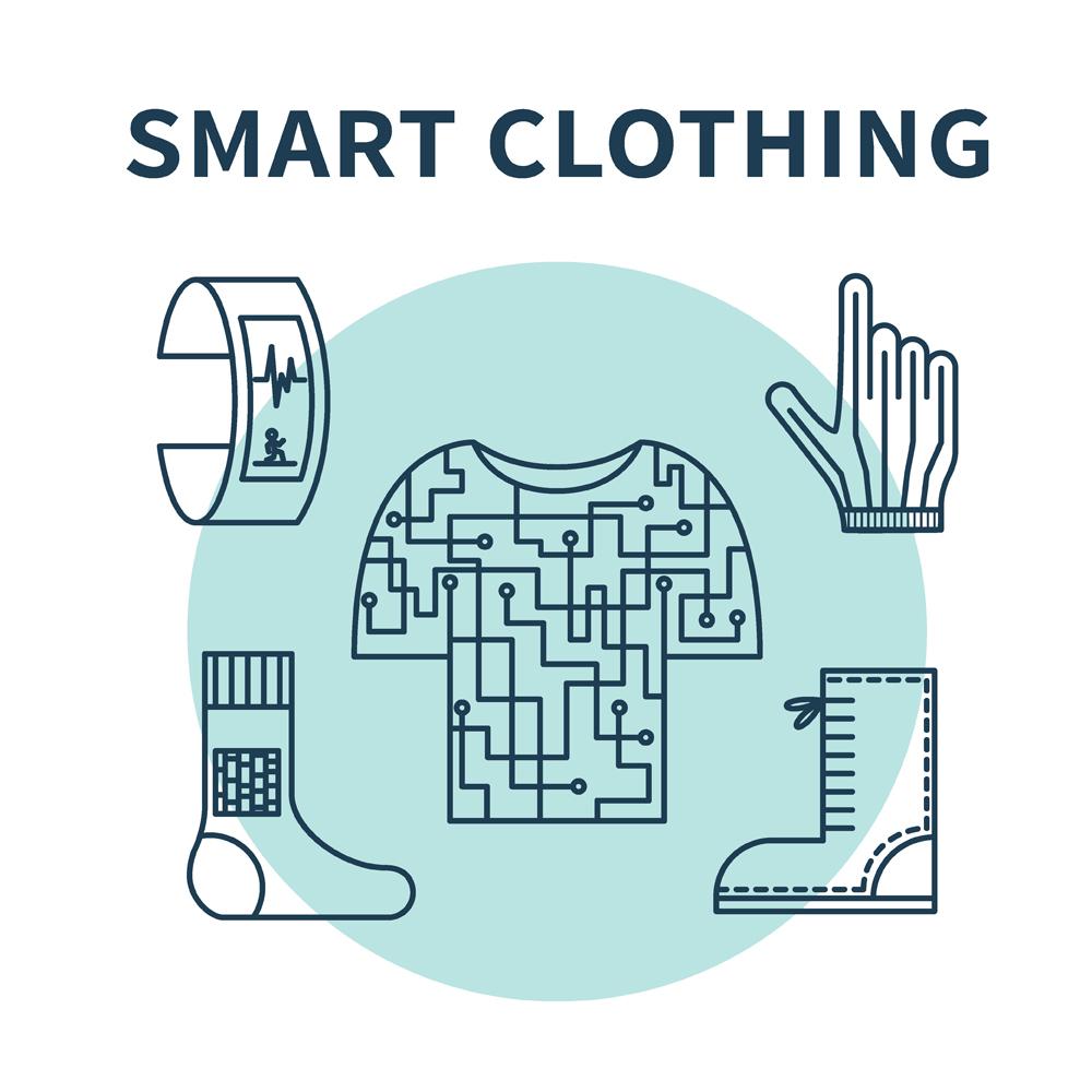 Smart clothing. Vector illustration for wearable technologies(lenoleum)s