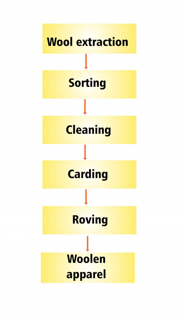 Manufacturing process of woolen apparel